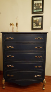 Navy tall dresser - Shabby chic, make an offer