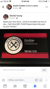 Tire change and balanced for only $60.00 ! Call chris 691-7226