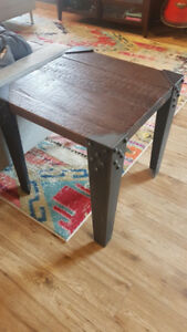Industrial wood and iron side table