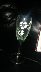 Hand-painted Champagne Flute glasses