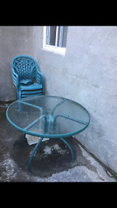 Set patio table 4 chaise