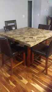 Pub style marble top dining table and chairs for sale