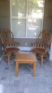 Brown Solid Wooden Two Dining Small Table Set