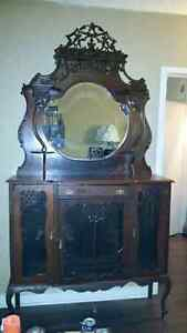 Beautiful antique hutch with mirror