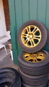 """16 Mags 5x100 6.5"""" wide et48 tires 225/60/16 Tires 5/32"""