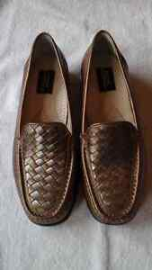 Hush puppies metallic gold & pewter loafers