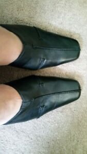 Black leather shoes, size 9