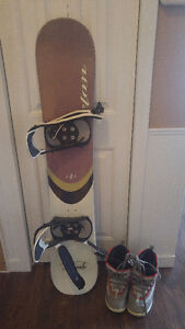 Snowboard with bindings + boots + goggles