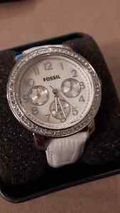 White Leather Fossil Watch
