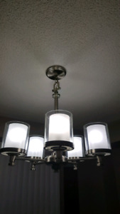 Chandelier, celling flush, and hanging globe