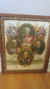 antique War poster framed and glass front