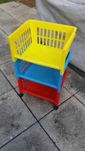 3 Tiered Storage Bin on Wheels for Toys