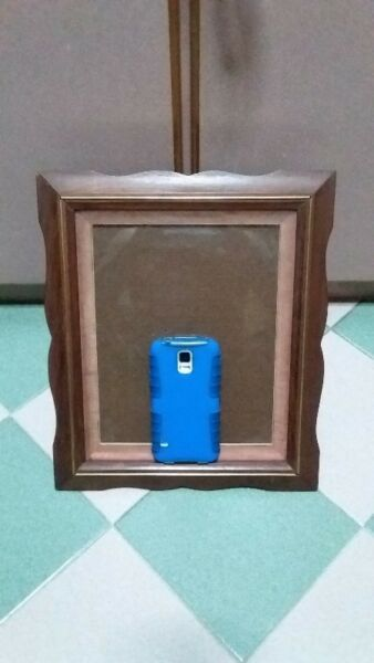 """RARE VINTAGE THAI TEAK PHOTO PRAME 12"""" X 14"""" WITH FRONT GLASS & BACK STAND."""