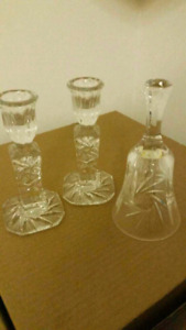 Genuine crystal candle holder's and genuine crystal bell