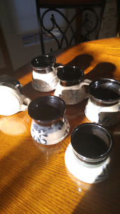 6 cups handmade and painted signed
