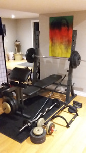 Golds gym XR10.1 weight bench, weights, and bars