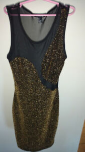 Sleeveless Forever 21 mesh/gold glitter mini dress size small
