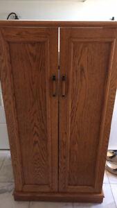 Custom oak stereo cabinet