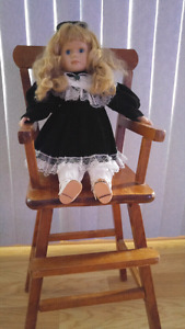 Wood High Chair with Porcelain Doll