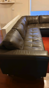 Dark brown leather chase lounge