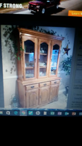 Solid Oak Buffet & Hutch