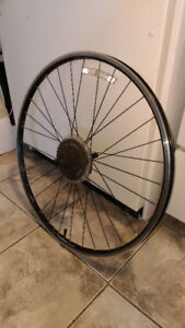 Giant GX-02 rear bicycle rim, with cassette and tire.