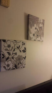 Black and white flower canvas printouts