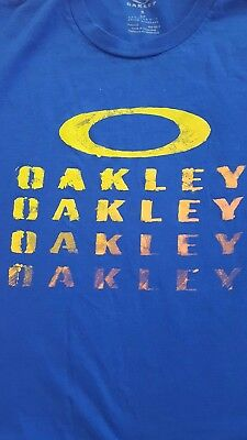 AUTHENTIC OAKLEY T-SHIRT ADULT S small BRIGHT BLUE S/S (SUNGLASSES) AWESOME (Awesome Oakley Sunglasses)