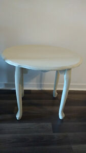 Set of two shabby chic cream colored end tables