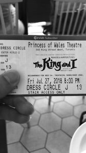 Tickets for The King and I, Princess of Wales, July 27 $75 each