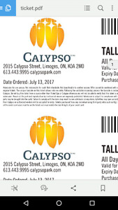 2 x Tall Calypso Day Passes + Parking Pass