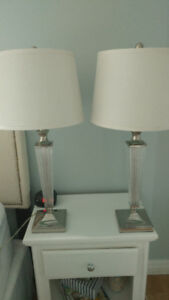 2 Elegant crystal lamps with white shades $100