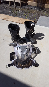 Adult chest protector and moto riding boots