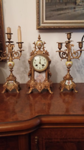 Antique Bronze Mantel Clock with Candle Holders