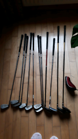 Eleven golf clubs and one golf club cover
