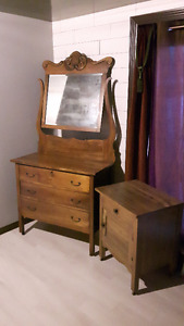 Antique dresser and night table