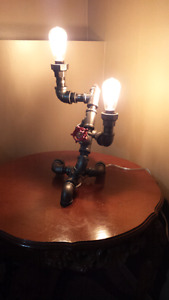 Steampunk style pipe lamp