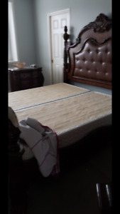 8pc king size beautiful sold wood bedroom suite with marble top
