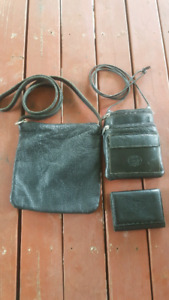 Set of all leather ROOTS purses with matching wallet