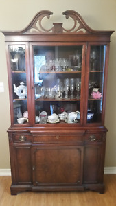 Burl Walnut  China Cabinet and Hutch