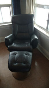 Comfy Black Chair with Footstool
