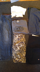 Mens size Large shirts and size 36 pants and shorts