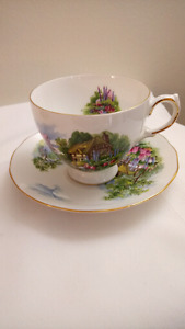 English Blue Vale Teacup and Saucer