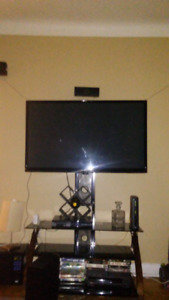LG home theater system LG 50-inch flat screen glass TV stand