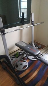 Weider Pro bench with Olympic bar plus 200 pounds of weights
