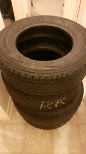 4 Used light truck tires 245 17r17 goodyear all terrain wrangler