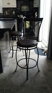 TWO SWIVEL BAR STOOLS BROWN LEATHER SEATS