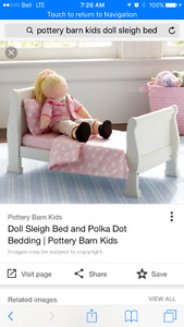 American girl / pottery barn wood sleigh bed