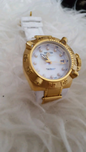 Invicta women's 18k gold plated and white watch
