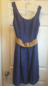 Size 6 Jones NY Navy Belted Sun Dress